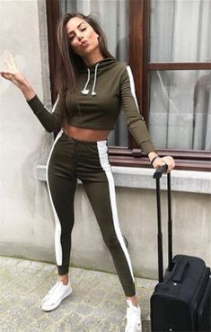 Elisa Tracksuit. Lounge in style in our Khaki With White Stripe Lounge Wear  Set featuring cropped hoodie ... 4ab5a4db9