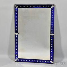 Art Deco Mirror. | Auction 2912M | Lot 170 | Estimate $250 - $350 Art Deco Decor, Art Deco Mirror, Mirrors For Sale, Art Nouveau, Antique Mirrors, Auction, Blue And White, Antiques, Frame