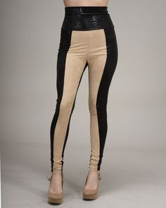 """Cheryl says: Get your hands on the """"it"""" item of the season with these beautiful color block banded leggings. The khaki front panel is offset with a black, printed panel on the back, the sides and on the high waist. Diversify your leggings easily with the addition of these high-waisted banded versions that turn drab pants into a dream. Cheryl, Color Blocking, Muse, High Waist, You Got This, Hands, Leggings, Printed, Boots"""