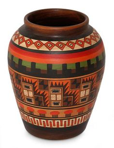 Pottery Painting Designs, Pottery Designs, Pottery Vase, Ceramic Pottery, Inca Art, Goth Home Decor, African Paintings, Pueblo Pottery, Native American Pottery