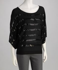 Take a look at this Black Sequin Sweater by Style Guide: Winter Wonderland on @zulily today!