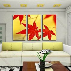 Fall Scenery Maple Leaf Canvas Oil Painting