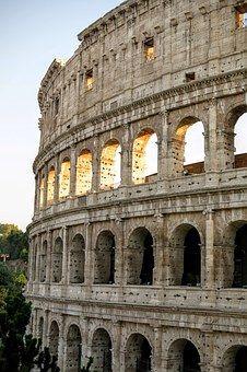 Coliseo, Roma, Puesta De Sol, Luz