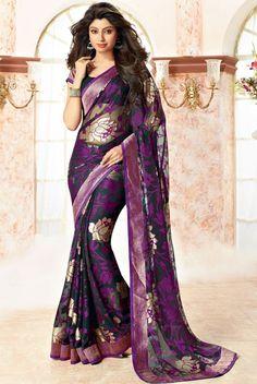 Beauteous Purple Bordered Saree