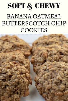 Soft and chewy on the inside yet crispy on the outside, these banana oatmeal butterscotch chip cookies are an easy and delicious recipe for using up those ripe bananas! Oatmeal Butterscotch Cookies, Oatmeal Cookie Recipes, Butterscotch Chips, Banana Bread Cookies, Homemade Fudge Brownies, Sugar Free Cookies, Cookies Kids, Yummy Cookies, Cookies Ingredients
