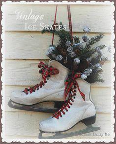 Vintage Altered Ice Skates - A Winter Wonderland for your Front Door