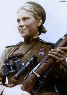 Roza Shanina (1924–1945) was a Soviet sniper during World War II, credited with 59 confirmed hits, including twelve snipers. (colorized by Za Rodinu)