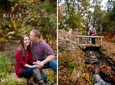 Waterfall, stream & beautiful fall colors made a great background for these engagement photos in Wedgefield, SC