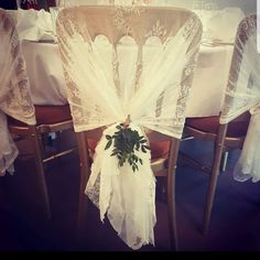 Finish white lace chair hoods with a real foliage arrangement, perfect for weddings, the white lace look is just stunning! Pew Ends, Reception Party, White Weddings, White Lace, Wedding Decor, Hoods, Range, Mariage, Decor Wedding