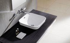 Lavabo Tokio rectangular, de porcelana y semiencastre, sin rebosadero y sin opción de ir en pared.
