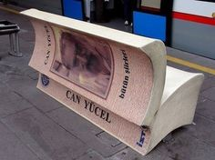 Bench in Istanbul promoting local author. Reading Pictures, Cool Books, Book Writer, Optical Illusions, Book Art, Street Art, Sculptures, Book Sculpture, The Incredibles