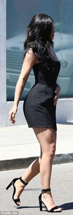 Leggy look: Kylie completed her look with velvet heels