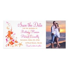 #Pink Orange Tropical Beach Save the Date Magnet - #beach #wedding #invitations #weddinginvitations #card #cards #celebration #beautiful #summer #summerwedding #savethedate #island #heat #love