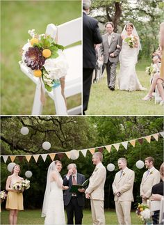 love the flags & paper lanterns!! outdoor wedding