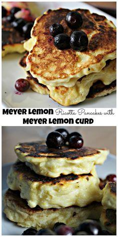 meyer lemon ricotta pancakes with meyer lemon curd meyer lemon ricotta ...