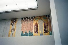 Gustav Klimt's Beethoven Frieze, Secession Building. Gustav Klimt's Beethoven Frieze (1902) is its best known exhibit. Designed as a decorative painting running along three walls, it shows interrelated groups of figures thought to be a commentary on Beethoven's Ninth Symphony.