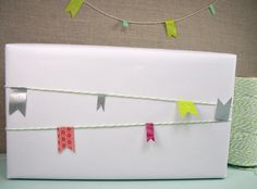 envelope with garland: Garland made with Divine Twine and Japanese masking tape