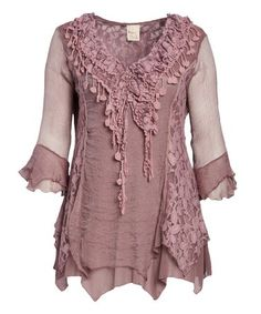 Look at this #zulilyfind! Mauve Ruffle Sheer Silk-Blend Handkerchief Tunic - Plus by Pretty Angel #zulilyfinds