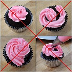 How to whirl the icing on cupcake. How to freeze cupcakes easily. Easy way to freeze a cupcake. How can I top a cupcake? How to whirl the icing on cupcake. How to freeze cupcakes easily. Easy way to freeze a cupcake. How can I top a cupcake? Cakes To Make, How To Make Frosting, How To Make Cake, Diy Dessert, Dessert Decoration, Decorations, Cupcake Decorating Tips, Cookie Decorating, Decorating Ideas