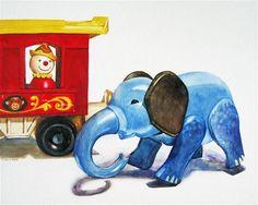 """Daily Paintworks - """"Circus Elephant"""" - Original Fine Art for Sale - © Kara K. Bigda"""