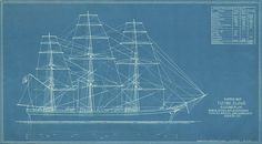 """Clipper Ship """"Flying Cloud"""", Rigging Plan. Masts, spars, sails, standing rigging, braces, sheets..."""