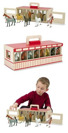 Take-Along Show-Horse Stable Play Set This handsome pretend-play stable set houses eight toy horses, each in its own wooden stall. Toy Horse Stable, Horse Stables, Imagination Toys, Toy Barn, Christmas Gift Decorations, Horse Crafts, Preschool Toys, Doll Furniture, Wood Toys
