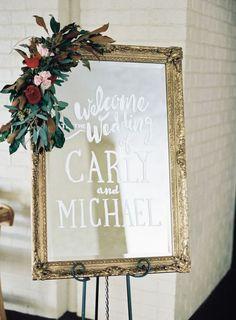 chic vintage frame wedding welcome sign