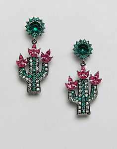 ASOS DESIGN Jewel Cactus Drop Earrings