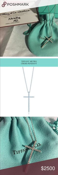 Tiffany&Co Metro cross GOLD Diamonds Sparkle Tiffany&Co metro large cross. 18 inches. Diamonds. White gold.  Comes with box pouch ribbon shopping bag. And the certificate of authentication from is from Poshmark when I bought off here. I absolutely love this necklace but I am ready for a yellow gold necklace ..Tiffanys diamonds now. Diamonds consistently sparkle. Beautiful. Tiffany & Co. Jewelry Necklaces
