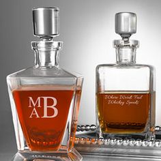 Hand Blown Whiskey Decanter from Things Remembered for him. #valentinesday #giftsforhim