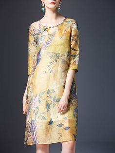 Yellow Half Sleeve Silk Printed Floral Midi Dress