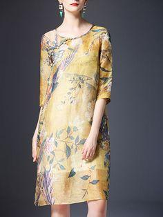 Yellow Half Sleeve Silk Printed Floral Midi Dress