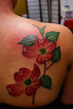 Dogwood Tattoo Design - Branch with 2 flowers