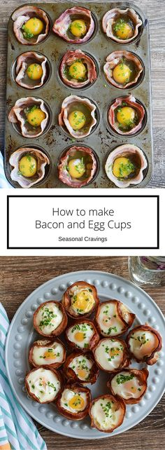 Bacon and Egg Cups - perfect on the go breakfast full of protein. Get more quick, healthy recipes at http://eepurl.com/bgGhFT