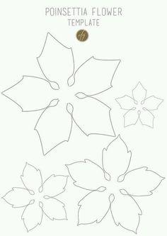 Poinsettia flower template III copy - Her Crochet Paper Flower Patterns, Paper Flowers Craft, Felt Flowers, Flower Crafts, Diy Flowers, Fabric Flowers, Paper Crafts, Felt Patterns, Poinsettia Flower