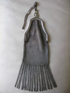 Antique Art Deco Silver T Blue Rhinestone Fancy Fringe Chain Mail Mesh Purse