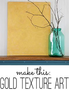 DIY gold texture art canvas.  Maybe layer a letter on top for a little more dimension.