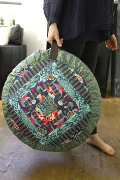 Amy Butler's Now and Zen Patch Pouf in Bright Heart Fabrics!