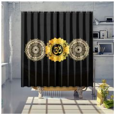 Om Namaste Mandhala Shower Curtain Energy Symbols, Reiki Meditation, Namaste, Curtains, Shower, Storage, Furniture, Home Decor, Rain Shower Heads