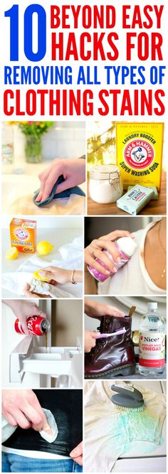 These 10 Beyond Easy ways to Remove every type of stain are THE BEST! I'm so glad I found these AWESOME tips! Now I have stain removing hacks that'll save me money and my favorite outfits! Definitely pinning!