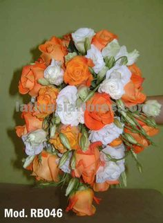 orange roses and white lisianthus #wedding #bouquet