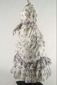 Summer Dress of Printed Cotton Organdy American, 1870s