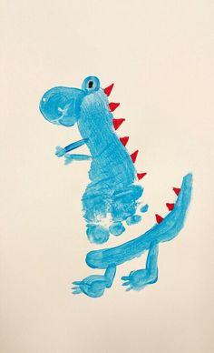 Footprint T Rex for dinosaur week! Art or craft great for toddlers in preschool