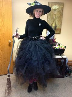 "Black Tulle Witch's Skirt for Halloween! Roughly 25 yards of black tulle, cut into 80"" strips. Take an elsatic band wide enough to go around your waist. Tie a lark's head knot around the elastic with the tulle. SEE HOW TO TIE HERE (not my video): http://www.youtube.com/watch?v=WyzUmetVJFA"