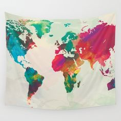 Watercolor world map tapestry bedroom dorm room trends top interesting design world map tapestry watercolor world map tapestry watercolor world map tapestry gumiabroncs Images