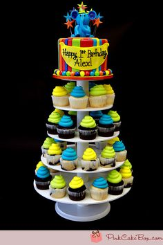 1st Birthday Cupcake Tower