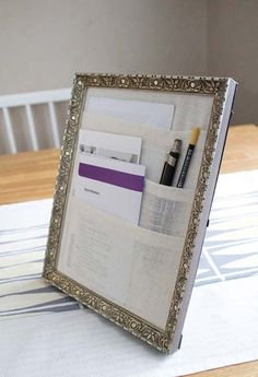 Office Desk Organizer From A Picture Frame.....DIY Ideas To Brilliantly Reuse Old Picture Frames Into Home Decor. Very Creative! #ReuseofOldpictureframes #DIYrecyclepictureframes