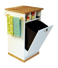 Venture Horizon Holden Kitchen Island With Hidden Trash Bin Pantry