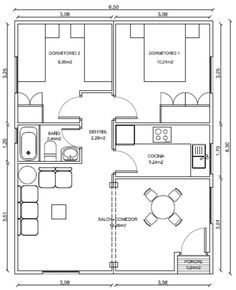 distribución casa 80 metros cuadrados