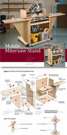 Mobile Miter Saw Stand Plans - Miter Saw Tips, Jigs and Fixtures - Woodwork, Woodworking, Woodworking Plans, Woodworking Projects Woodworking Essentials, Best Woodworking Tools, Woodworking For Kids, Woodworking Workshop, Custom Woodworking, Woodworking Projects, Miter Saw Stand Plans, Shop Storage, Workbench Plans